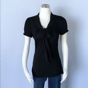 WHBM Knit Cap Sleeve Tie Front Blouse Small